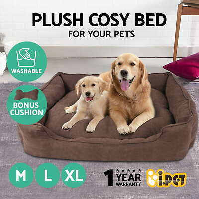 Pet Bed Dog Cat Puppy Deluxe Faux Suede Cushion Soft Washable Basket Mat Large