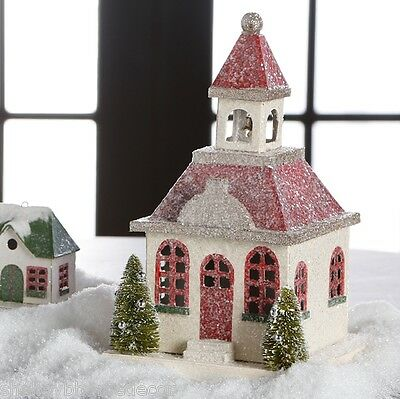 White Putz Church w Red Roof and Bottle Brush Trees Christmas rzchtw 3600502 NEW