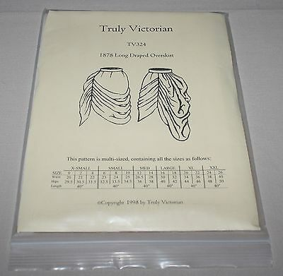 Truly Victorian TV324 1878 Long Draped Overskirt Costume Pattern Size 0-26 New