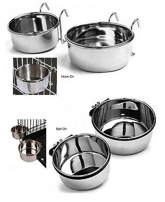 COOP CUP Stainless Steel Dog Pet Bowl Kennel Cage Crate Dish CHOOSE BOLT or HOOK