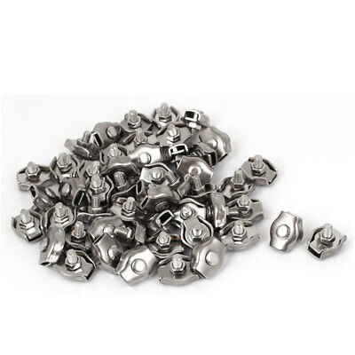 Stainless Steel Simplex Single Bolt Clip Cable Clamp 50 Pcs for 4mm Wire Rope