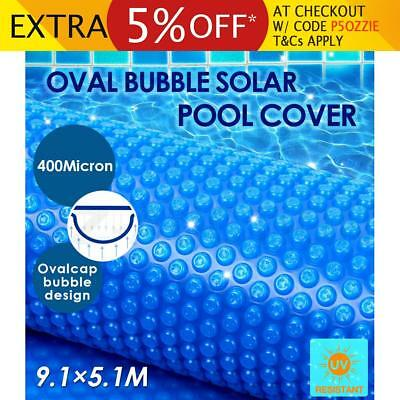 Solar Swimming Pool Cover 400 Micron Oval Bubble Blanket 9.1x5.1M Outdoor Blue