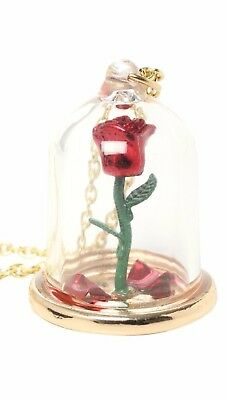 Disney Beauty And The Beast Enchanted Rose Petals In Glass Dome Pendant Necklace