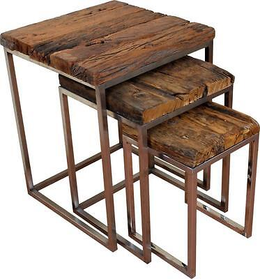 Nest of 3 Side Tables - Reclaimed Wood Railway Sleepers  'Satin' Stainless Steel