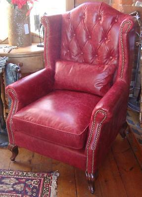 Wingback Gentlemans Club Chair / Armchair - Distressed Red Leather - Studded