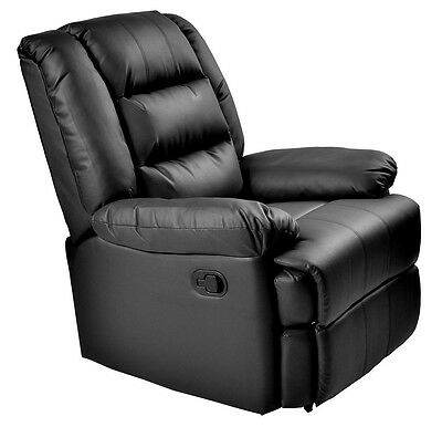 Capri Black Real Leather Recliner Armchair Lounge Chair Sofa Reclining