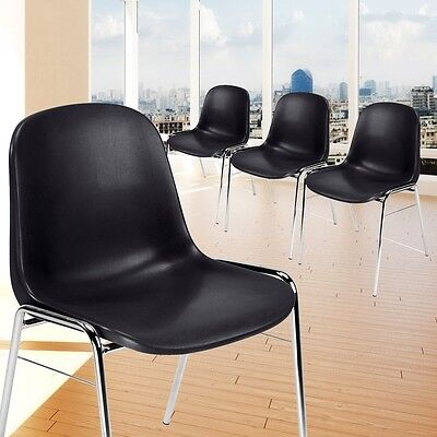 Set Of 4 Seat Furniture stackable Warte Room Seating Kitchen Chairs Black 4-leg