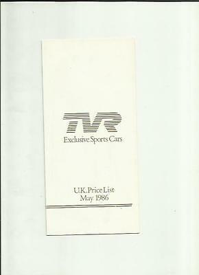 Tvr  Full Range Price List Brochure Dated  May 1986