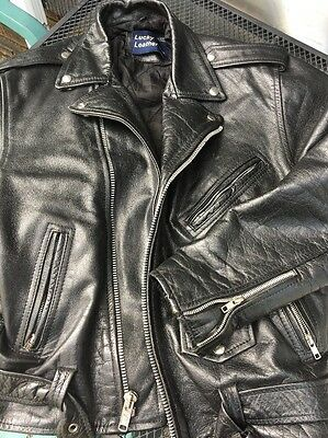 Vintage LUCKY LEATHER INC. Motorcycle Black Leather perfecto Jacket Sz 46