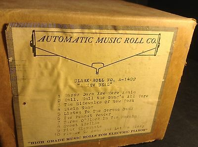 """Recut Nickelodeon 10-Tune Player Piano Clark Music Roll A-1402 """"A New Deal"""""""