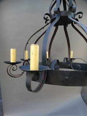 Spanish Revival Wrought Iron Chandelier
