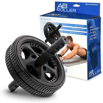 PharMeDoc Ab Wheel Roller - Total Body Workout Fitness Abdominal Core Carver Gym