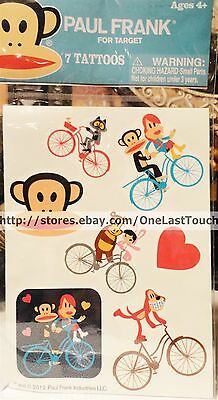 PAUL FRANK~7pc Press-On TATTOO Set~JULIUS/BUNNY GIRL/WORRY BEAR on Bicycles~Cute
