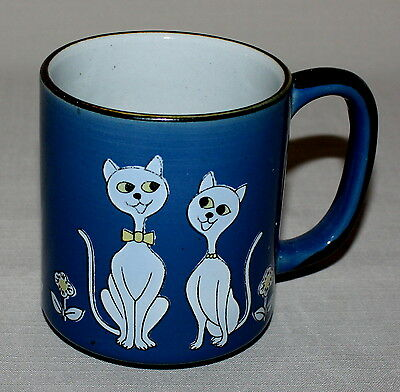 Mug Siamese Abyssinian Boy Girl Cats Blue White Embossed 12 Ounces Pottery