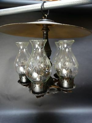 Four Light Oil Lamp style Hanging Chandelier