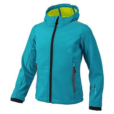 Campagnolo Girl Hiking Leisure Softshell jacket with hood turquoise / yellow