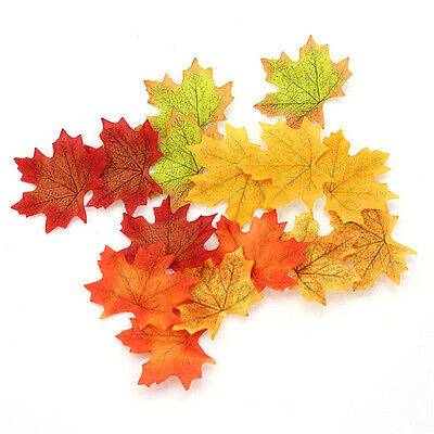 100Pcs Artificial Fall Silk Leaves Wedding Autumn Maple Leaf Party Decoration