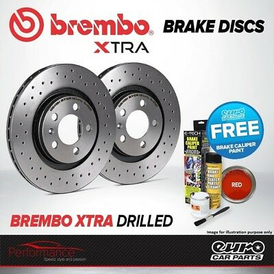 Brembo Xtra Front Vented High Carbon Drilled Brake Disc Pair Discs x2 09.6924.1X