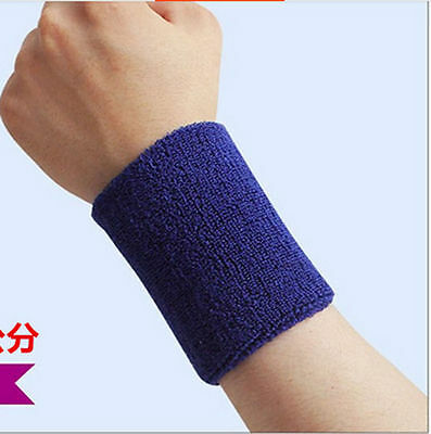 Sports Wristband Sweat Absorbent Elastic Wrist Towel 80*80mm Unisex New Blue top