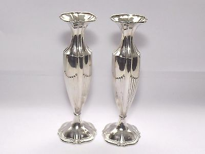 RARE ANTIQUE ART DECO GERMAN GEBRUDER KUHN SOLID SILVER PAIR OF VASES c1915