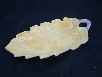"""Stangl Pottery Yellow / Gold #3779 Leaf Serving Dish 14"""" Long"""