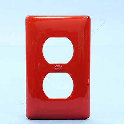 Hubbell UNBREAKABLE Red 1G Duplex Receptacle Wallplate Nylon Outlet Cover NP8R