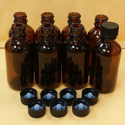 12 pcs AMBER Bottle 2 oz 60 ml Boston Round Glass With Black Cap FREE SHIP