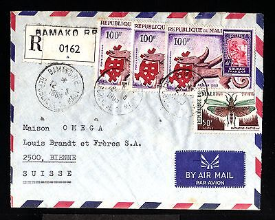 12658-R.du MALI-AIRMAIL COVER BAMAKO to BIENNE (switzerland)1968.FRENCH Colonies