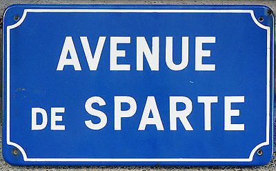 Old French enamel steel street road sign plaque plate name Sparta Avenue Nantes