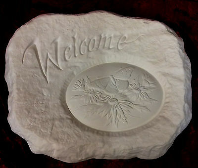 Paint Your Own Ceramic Bisque - Welcome Stone Plaque Daisies & Butterfly