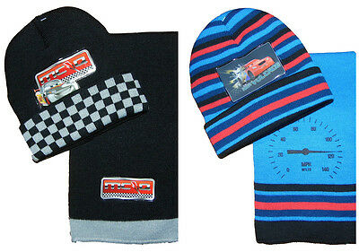 Boys Lightening McQueen Hat and Scarf set Blue or Black Disney Cars