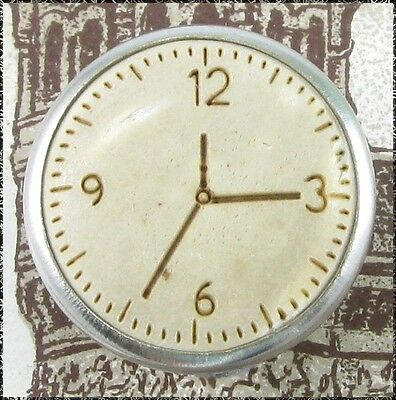 Small Metal Button w/ Bleached Coconut Clock Face