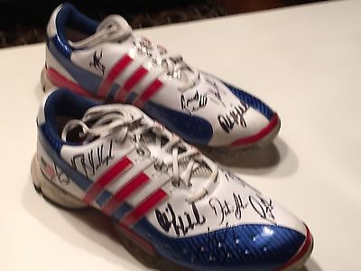 """2016 RYDER CUP TEAM SIGNED USA SHOES """"Unique"""" 8 PLAYERS MICKELSON-JOHNSON-SPIETH"""