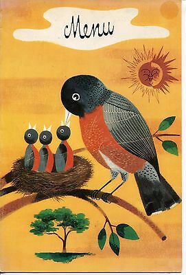 """1955 Vintage Menu: """"American Robin Feeding Her Young"""" Illustrated Cover"""