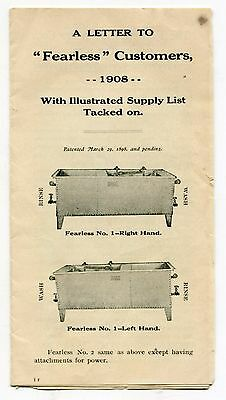 "1908 Vintage Illustrated Promotional Brochure: ""THE FEARLESS DISHWASHER"""