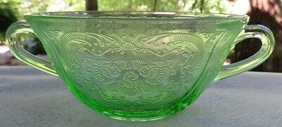 Hazel Atlas Green Depression Glass Royal Lace Handed Cream Soup Bowl