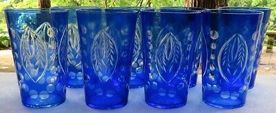 Set of EIGHT Cobalt Blue Cut-to-Clear Crystal Tumblers Glasses