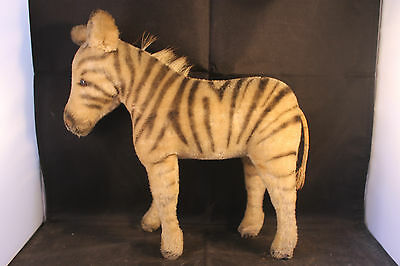Adorable vintage Steiff zebra. Shaved mohair and straw. Early example. VGC 10""