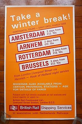 1968 Continental Tours Shipping North Eastern Original Railway Travel Poster