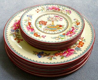TEN Cauldron China Plates 8034 Pattern with Vase and Flower Asian England