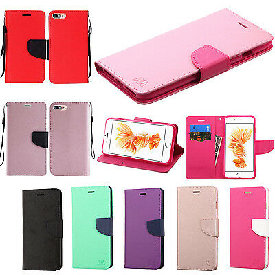 For Apple iPhone 7 & 7 PLUS Leather 2 Tone Wallet Pouch Flip Cover +Screen Guard
