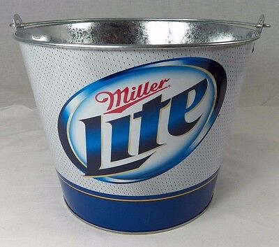 Miller Lite Ice Bucket Tin Pail Tailgate Party Beer Holder Man Cave Football New