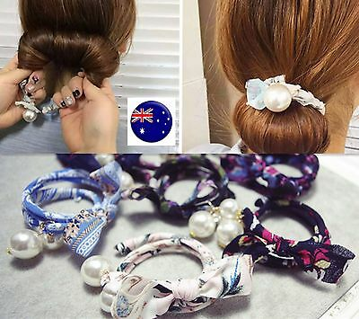 Women Lady Girl Pearl bow Bun Ball wire stick ponytail holder hair band wrap
