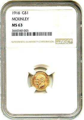 1916 McKinley G$1 NGC MS63 - Classic Commemorative - Gold Coin