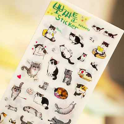 6 sheets/lot PVC Paper Stickers Cat For Kids Toys Gift Scrapbooking ca