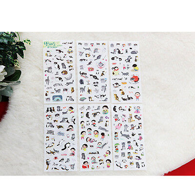 6sheets Cartoon PVC Paper Stickers Cat DIY Scrapbooking Stationery NEW ca
