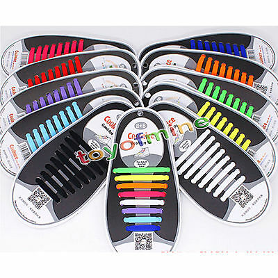 1 Set(16pcs)New No Tie Shoelaces Elastic Silicone Shoe Lace Sporting