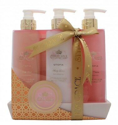 Style & Grace Utopia Bathroom Collection Gift Set 250Ml Body Wash + 250Ml B/l +