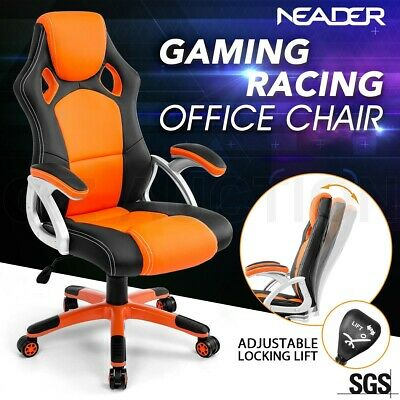 Racing Office Computer Chair Executive Home Gaming Seat PU Leather Deluxe Orange