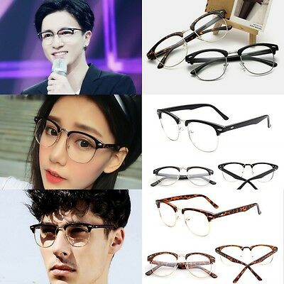 Fashion Retro Classic Half Frame Clear Lens Glasses Nerd Geek Eyewear Eyeglass